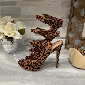 ShoeDazzle Leopard Cheetah Strappy Heels, size 7.5